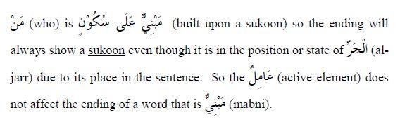 arabic grammar - mabni