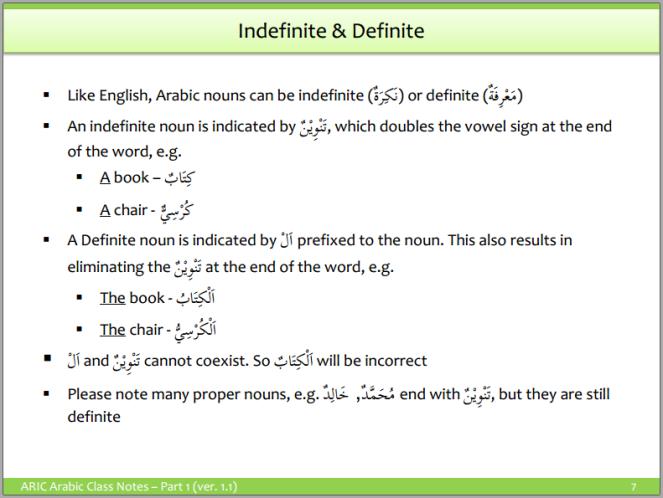 Arabic Grammar - Definite and Indefinite Nouns
