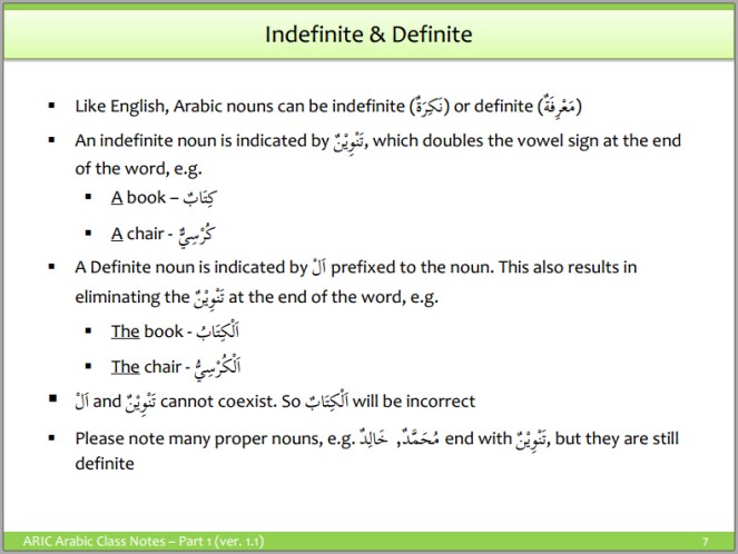 Arabic Grammar - Definite and Indefinite Nouns
