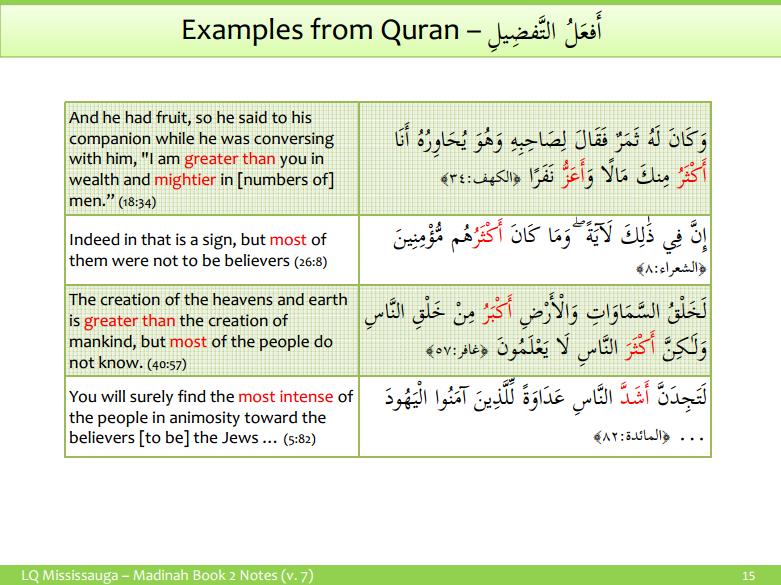 comparative and superlatives ismu tafdeel understand arabic com