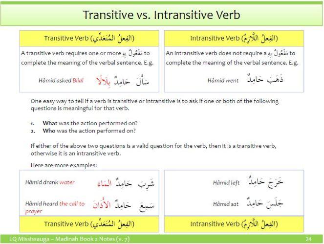 Madina Arabic - Transitive and Intransitive Verbs