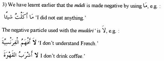 Negative Particle for Madi and Mudari Verbs