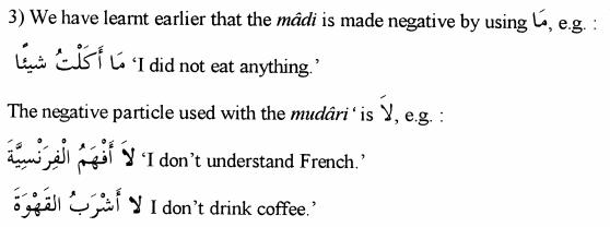 Negative Particle for Madi and Mudari Verbs