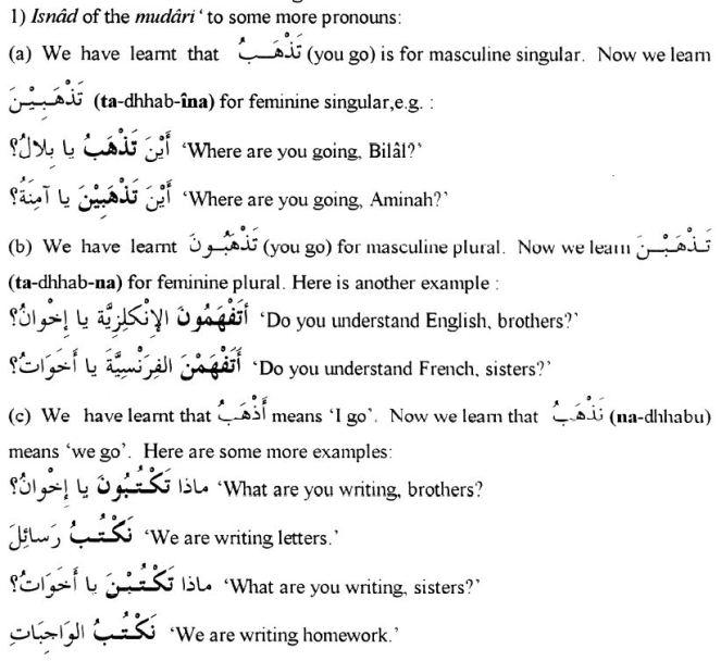 Isnaad of Mudaari to some more pronouns